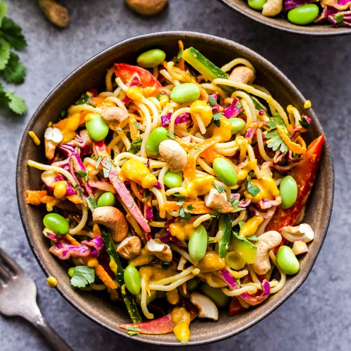 Thai Noodle Salad with Cashew Carrot Ginger Sauce