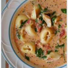 Slow Cooker Creamy Tortellini, Spinach and Chicken Soup